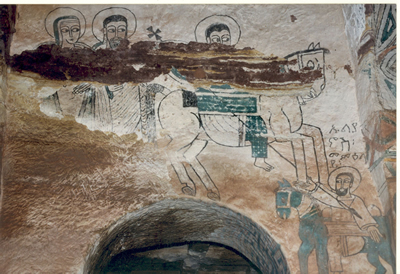 Paintings flaking off the walls in Debre Tsion church, Tigray