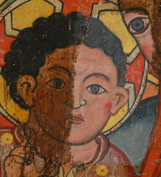 Part of the central panel of the 15th century Icon of Mary at the Monastery of Saint Stephen, Lake Hayq, during cleaning